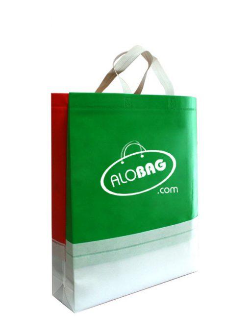 ساک دستی تبلیغاتی پارچه ای عمودی 45×40 سانتی متر سه تکه سبز فسفری